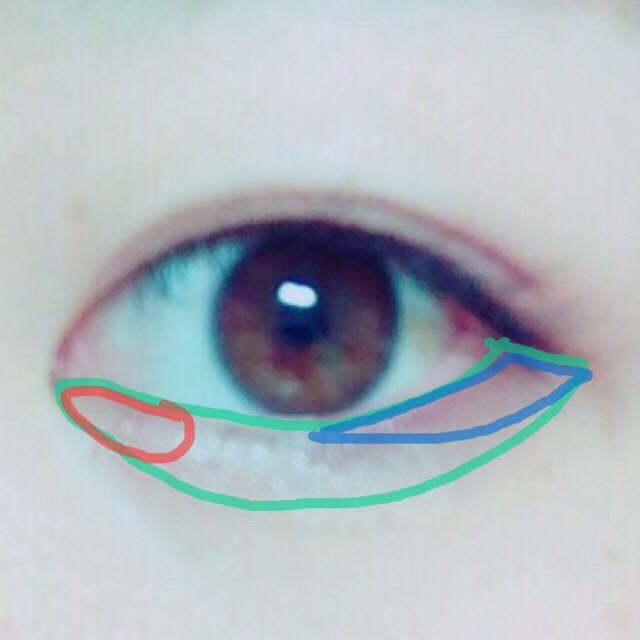 1☞下まぶた全体 2☞黒目の真ん中から目尻に。目尻にかけて広く 3☞軽く薄く3に重ねる 4☞目頭に