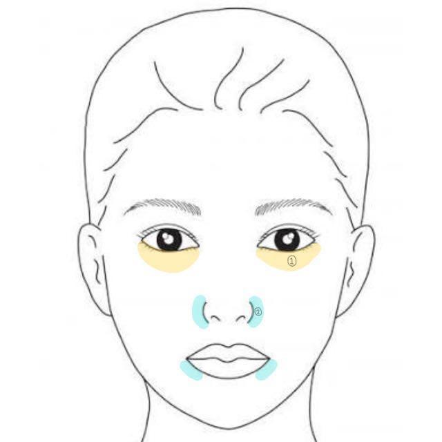 コンシーラーで気になるところを消します¨̮  ✩地肌より暗めの色✩ 黄色  ✩地肌より明るめの色✩ 水色&ニキビ跡