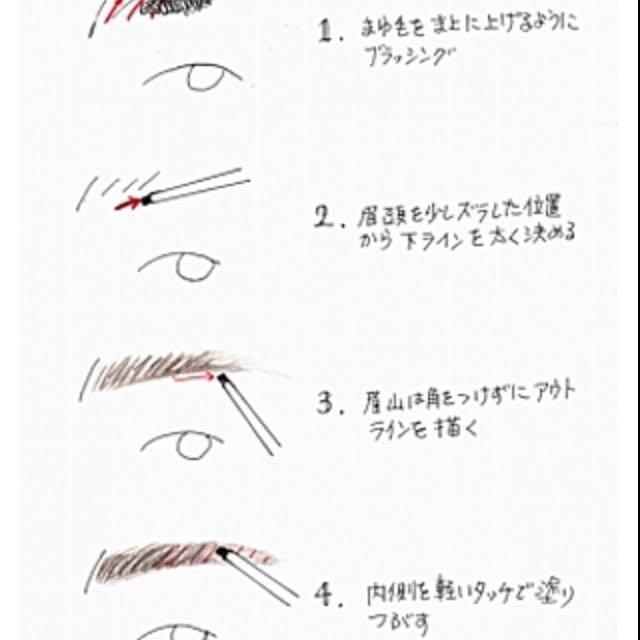 太く並行な眉を意識します。眉頭から眉尻にかけて濃くなるように  ①アイブロウパウダーをのせてください︎︎︎︎☺︎ ②ピンクの濃いチークをその上に軽くのせます(これをすることで優しい色に) ③眉マスカラを付けます