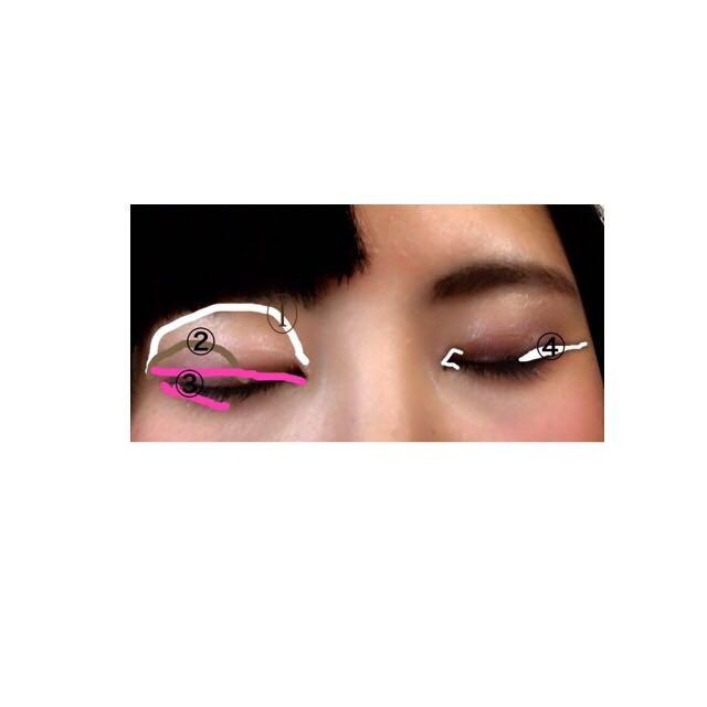 ①いちばん薄い色をベースに塗る  ②目の2分の一まで  ③目のキワにぬる ④切開  目尻長め