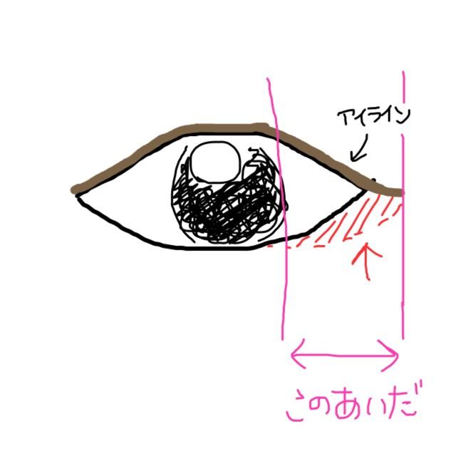 黒目の外側からアイラインの端までシャドウを塗ります。  フチは指でぼかします。