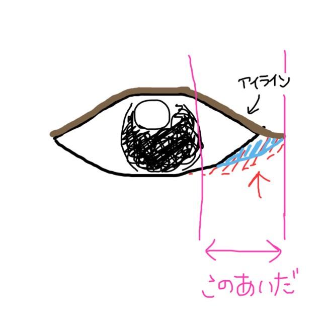先ほどのシャドウより内側に、できれば目のキワを塗ります。