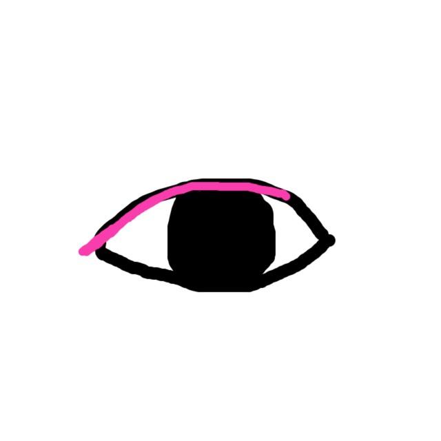 アイライナーを目尻から少し下に向かってはみ出すように描く。(まつげの隙間を埋めるように。細く描く。)