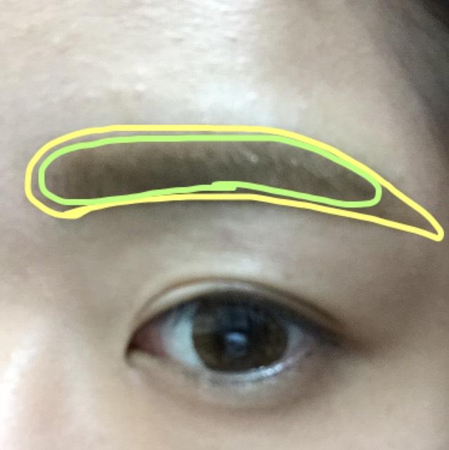 次に眉毛です。緑は自眉毛、黄色は描いてます。