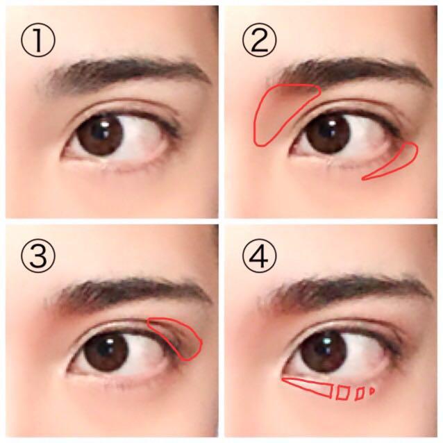 ①まず下地、コンシーラー、パウダー等で顔のベースを作ります。(今回は2重幅をアイプチで広げています。) ②眉頭の辺りと、涙袋の影部分にオレンジ〜赤系のチークを入れます。 ③目尻の方から真ん中辺りまで茶色系のマットなシャドウで立体感を出します。(なくても◯) ④目頭から真ん中辺りまで涙袋のハイライトを入れます。