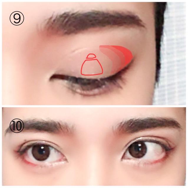 ⑨茶色パール系のシャドウを指などで目尻から中央に向けてグラデーションになる様に入れます。中央(赤枠)部分にはパールやラメ系のハイライトを入れて下さい。 ⑩アイブロウやマスカラで目元の印象を強くして完成です。
