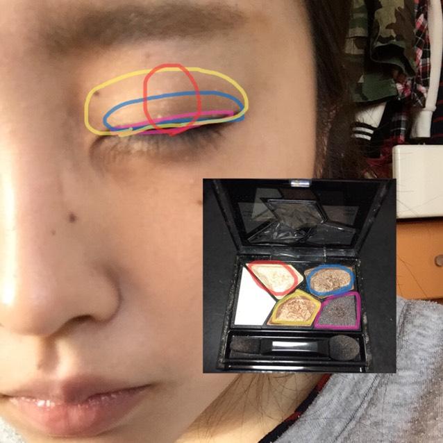 使用粉色線框起來的眼影色,像是在畫眼線一般細細地畫上眼影!接著塗上黃色線框起來的眼影,位置要蓋住第一個顏色!然後塗上藍色線框起來的眼影,範圍要略微超出雙眼皮摺線位置!最後於中央處輕輕塗上紅色線框起來的眼影!