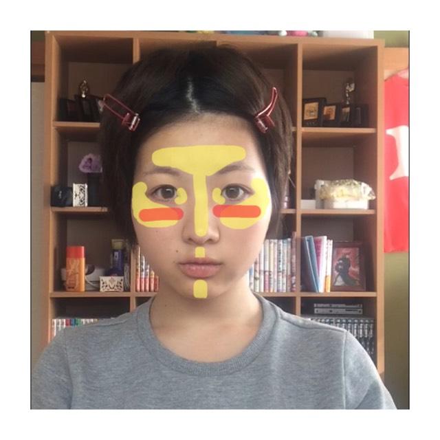 黄色→ハイライト 赤→チーク  (ダンッソンッ…