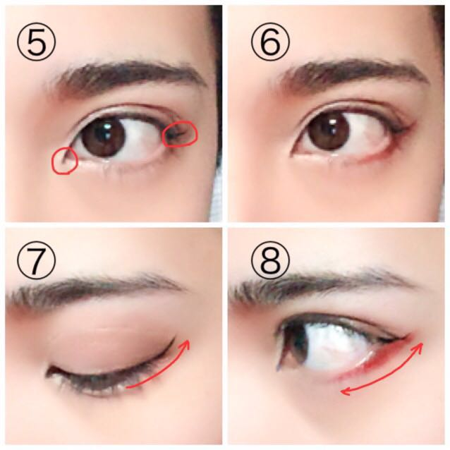 ⑤目頭切開ラインと目尻のキャットラインをライナーで引きます。このとき⑦の様に瞼を伏せた時に自然に繋がる角度の線を目尻だけに1本引くのがポイントです。 ⑥下瞼の真ん中辺りから⑤で引いた線の下(⑧)にリップライナーやペンシルで赤のラインを入れます。