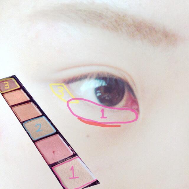 涙袋はアイホールと同じ色で! 目尻には暗めのアイシャドウをのせる!! 赤線のところはさっきのアイブロウの一番薄い色でかく!