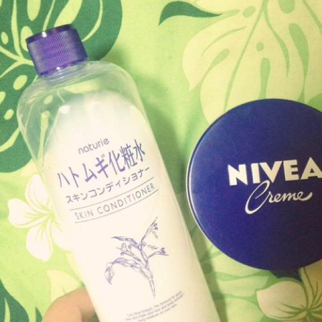ハトムギ化粧水とニベアの青缶を混ぜて保湿する ☆乾燥肌の人は特にやった方がいいよ、ベースメイクのできが違ってくる