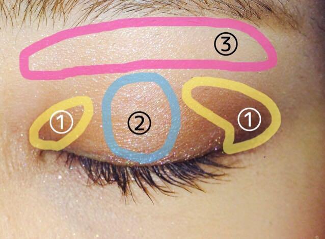 """①を目頭に少しと、目尻に""""く""""の字になるようにいれます。  ②を目の高いところに置きます。  ③を眉毛の下に入れて、①と②の色をぼかします。"""