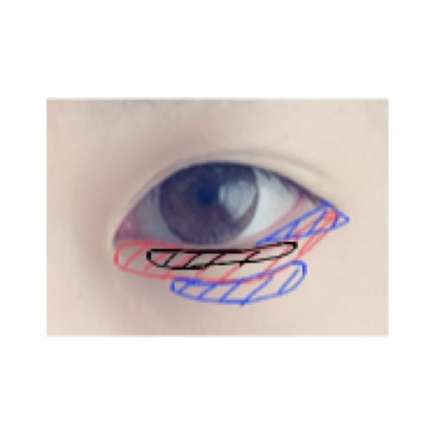 ④下側の青色のところは指や綿棒でぼかします。これをやらないと不自然になります。
