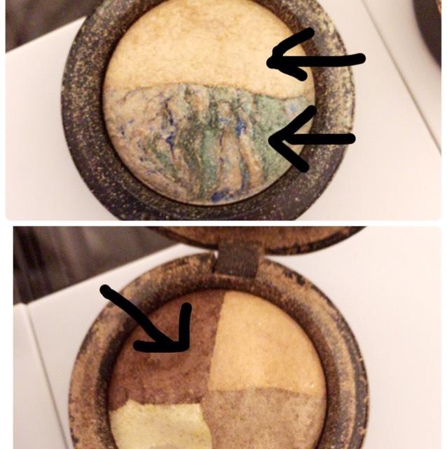 上のアイシャドウは 白のやつを瞼全体に塗り青いのは2重の線に合わせて塗ります。  下のアイシャドウは 2重の線より上に乗せて 濃いめに塗っていきます(*´-`)