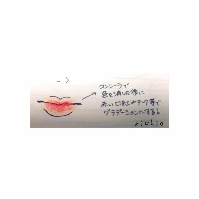 唇は コンシーラーで色味を消して 赤チーク等でグラデーションにします