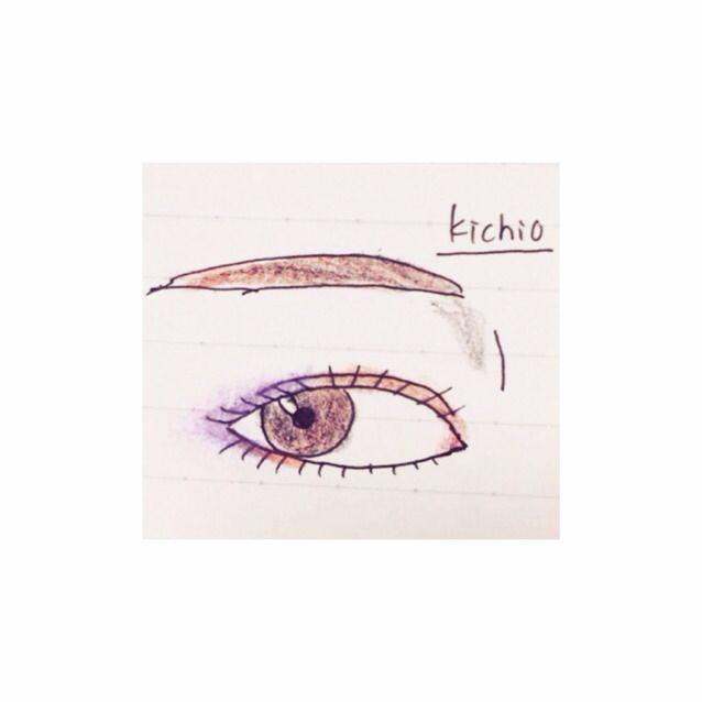 二重はばにaとbを混ぜた色をのせる  そして紫のアイシャドーペンを目尻側に伸ばし、指でぼかす  再びaとbを下まぶた3分の1にうっすらのせる