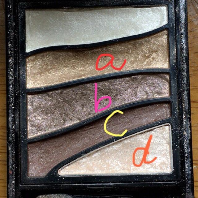 アイホール全体にaのアイシャドウを薄くのせます。次に二重幅内にbのアイシャドウをグラデーションになるようにのせます。