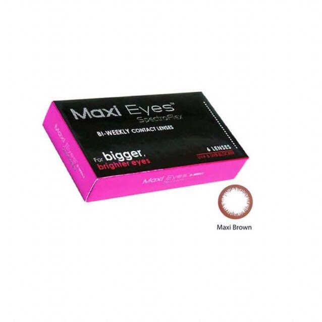 今使っているカラコンは Maxi Eyesというカラコンです‼︎これも さっきのと同じ直径が14.0mmでブラウンのふちのものです‼︎    今のところ 使っていて目のトラブルはないし とてもいいです❤︎