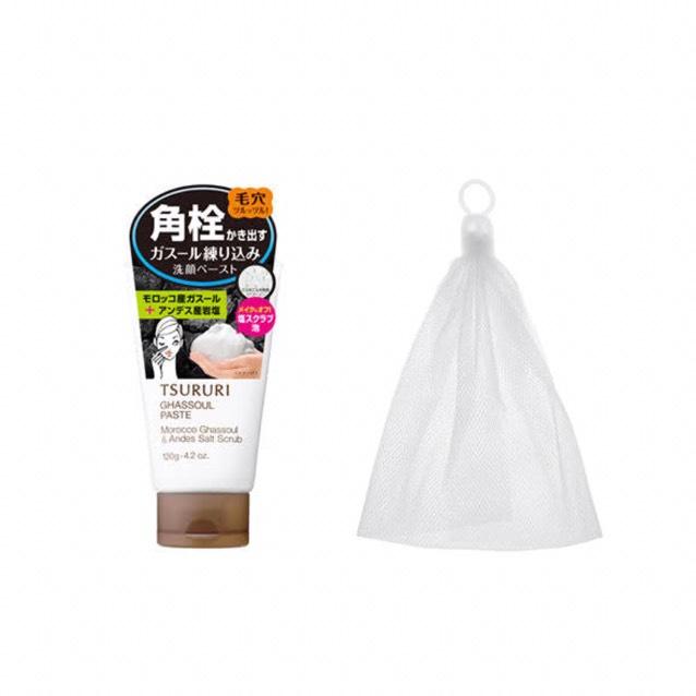 (洗顔)    洗顔はこれを使っています‼︎洗顔したあと つっぱることなく鼻などの毛穴の汚れもとれるのでオススメです❤︎    左から 角栓かき出し ガスールペースト↪︎100均の泡立てネット