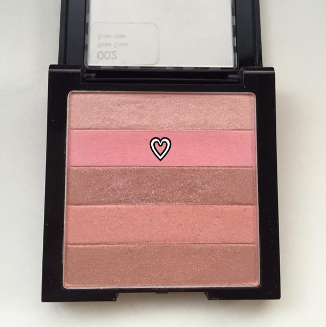♡の薄いピンクカラーをチークとしていれました。 ←レブロン ハイライティングパレット 2番