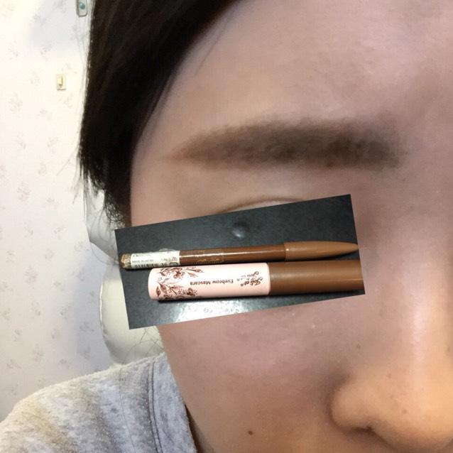 眉尻はペンシルで少しだけ描きました! 眉マスカラは眉尻から眉頭のほうにぬるかんじです!(≧∇≦)