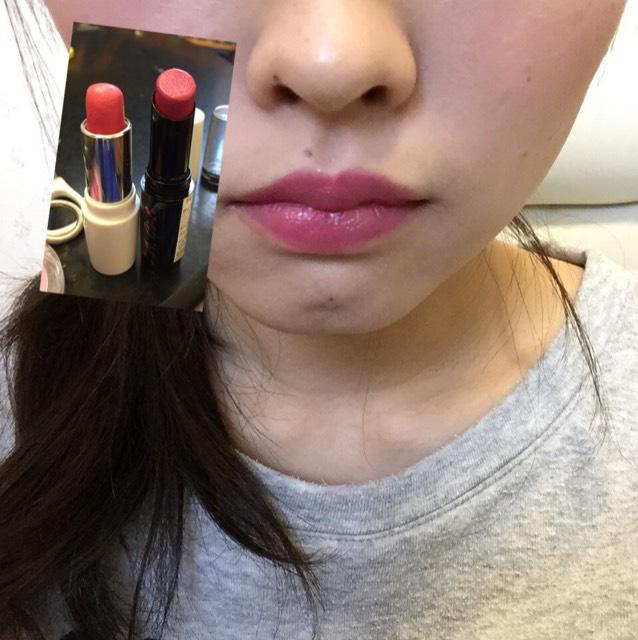 ちふれをさきにぬります!次にもう一個をぬります!  ちふれ:345番(ザ、ピンクって感じです)  L.A.girl:LC541(紫っぽいピンクで海外って感じです)