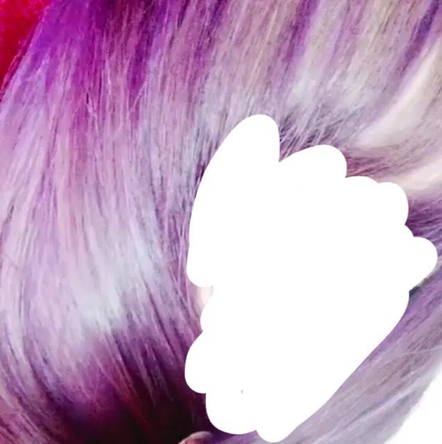 その次は紫ですッッ  前髪にはもう色が全く入らなかったからムラができてます(´ . .̫ . `)
