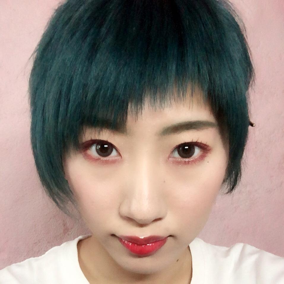 緑髪×うさぎメイクのAfter画像