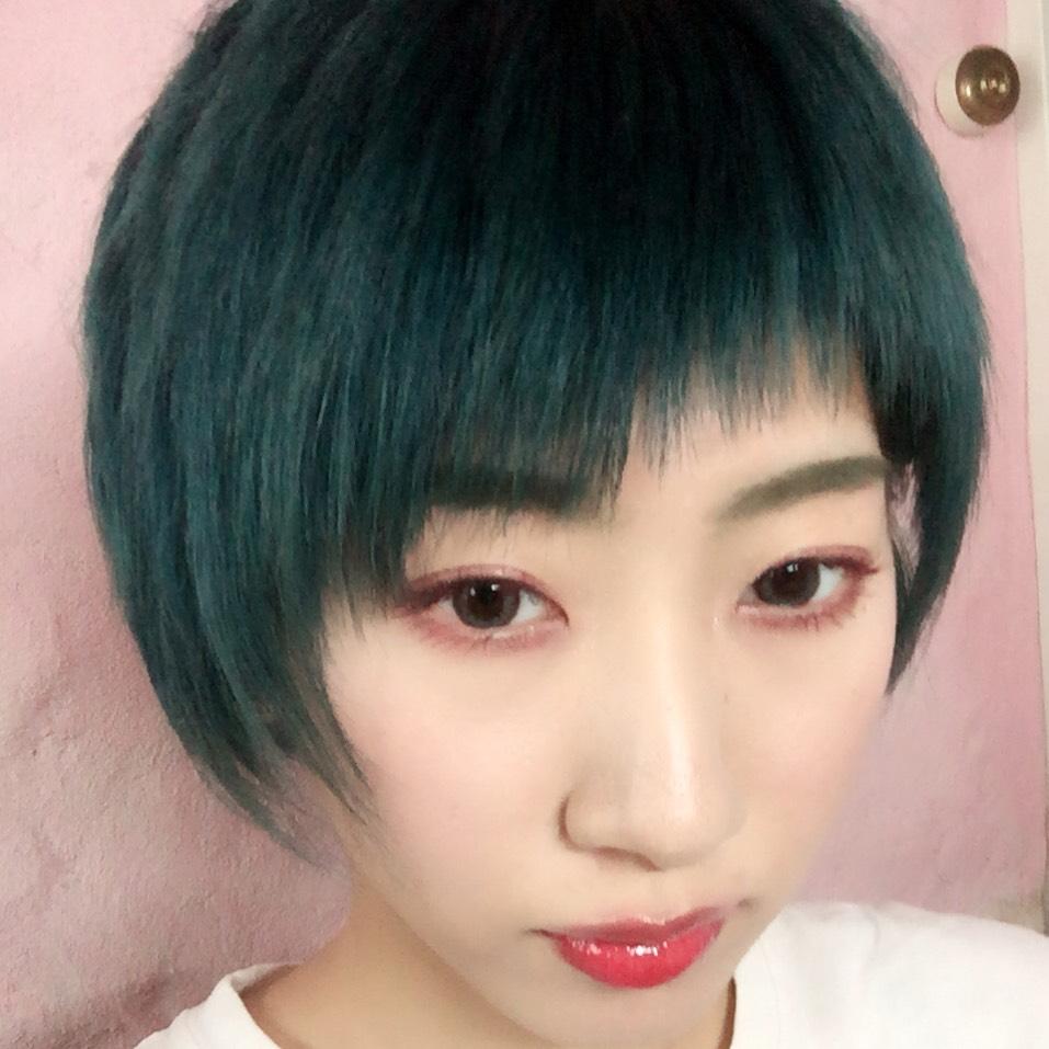 緑髪×うさぎメイク