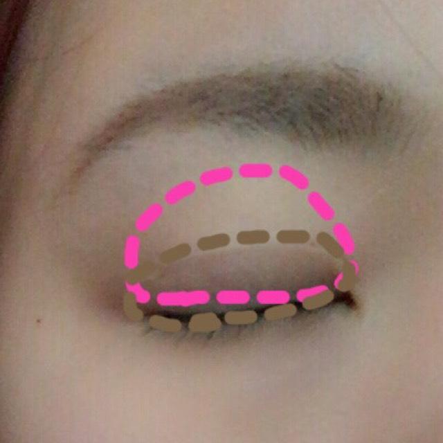 ピンクの部分は、ピンクのアイシャドウ。そして、茶色の部分には、がっつり茶色を入れてください。アイラインをがっつりいれると目が大きくなるのと同じ原理で、茶色を入れると大きく見えます。