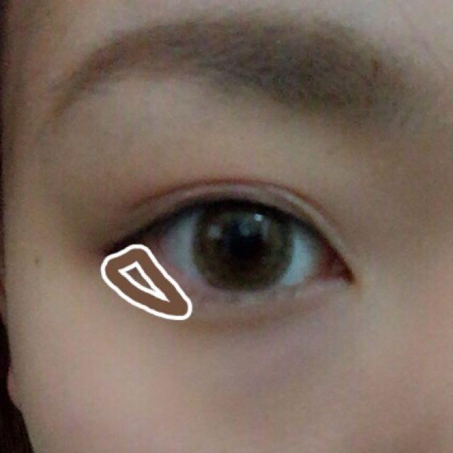 目のこの部分にも、薄めに茶色を入れてください。