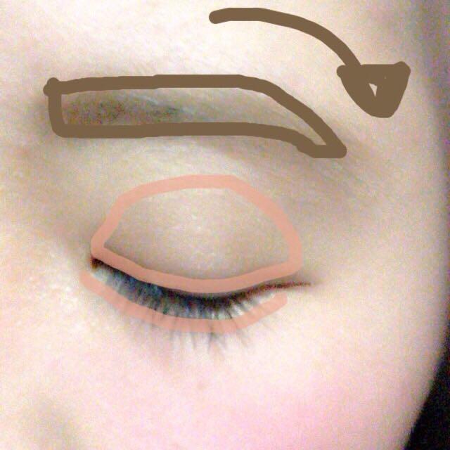 眉毛は平行で、最後にタレさせます。 アイシャドウは単色で、アイホール全体と涙袋に塗ります。