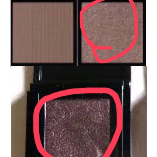 シャドウは真ん中に茶色に近い紫を入れた後にラメが少し強めの焦げ茶を目尻→目頭の方向へアイホール全体に入れます・x・(ピンクで囲った色使用) 涙袋にはマットめな薄茶を目頭側から。 アディクション使用しました!