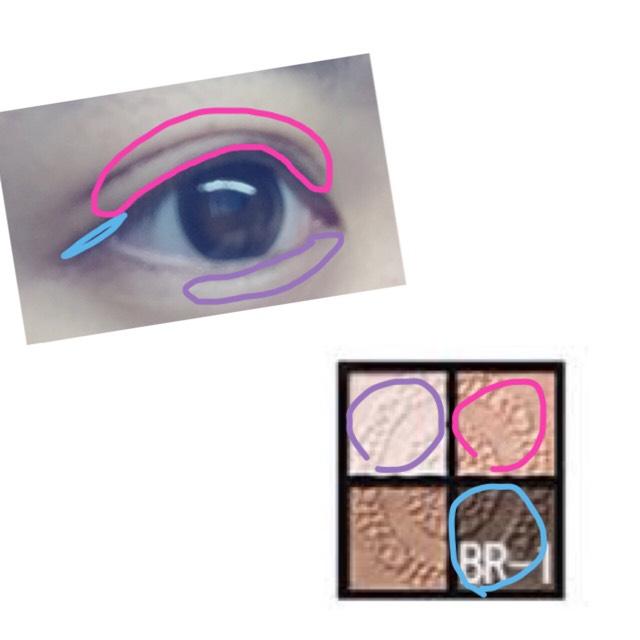 一番濃い色で目尻を少し伸ばしたら ダブルラインをぼかすために2番目に薄い色をまぶた全体にぬります  涙袋に1番うすい色をいれます