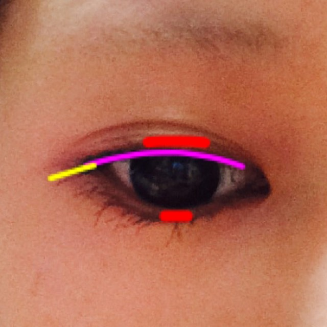 ピンク:まつ毛の生えてるとこを塗ります 黄色:上記の延長線、1cmくらい垂れめに書く 赤:黒目の重なるところだけ、太くする 下は気持ち塗る