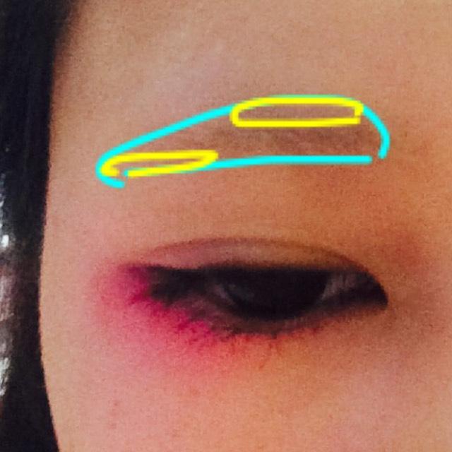 分かりづらいんですがタレ眉に命をかけてるので、水色の形にしたいんですね 自眉に黄色の面積を足してタレ眉にします