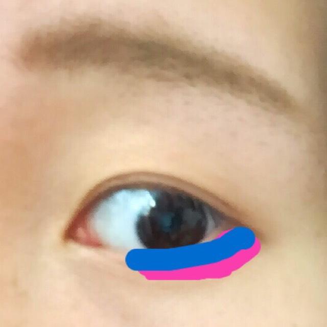 次はしたまぶた! さっきの写真の□の色をこんな感じに入れます。 □の黄緑を目尻の際に入れます