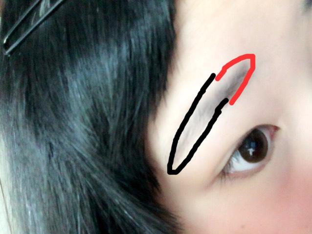 黒の部分はペンシルで ある程度形を整える。  赤の部分は書かずに パウダーのみ。 黒の部分は パウダーを少しのせる