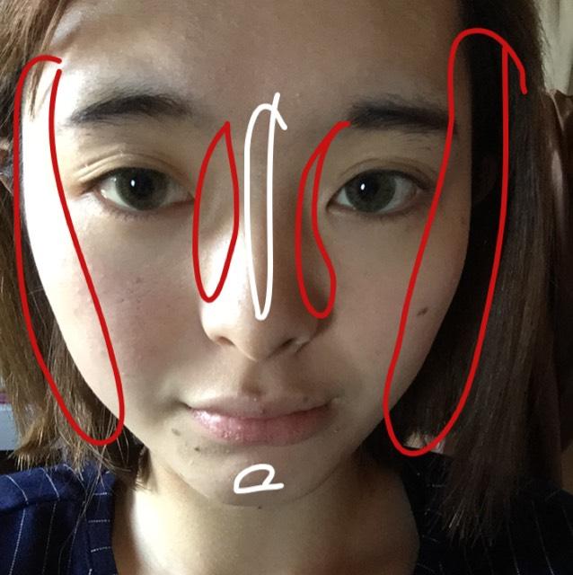 (バイトがあったので軽く眉毛描いてます。すみません…。) 下地終わってます。 赤色のところ→シェーディング、白色のところ→ハイライト