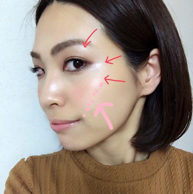 仕上がりはこんな感じで赤い矢印の部分はツヤっとして、チークは頬骨のラインからはみ出ないことでふっくら感を感じさせます。