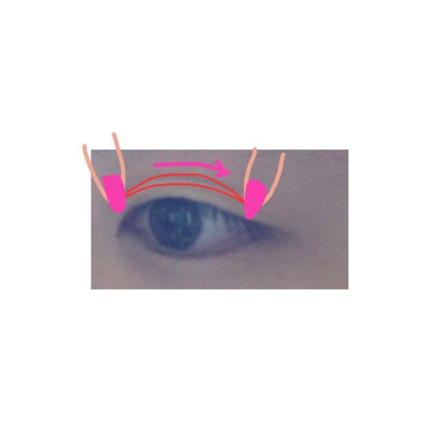 目頭にはったら そのままひっぱってのばしながら 目尻につけます  貼るというより目にくいこませるイメージでやります  くい込ませればくい込ませるほど濃い二重になります  目玉が出そうになるので注意です