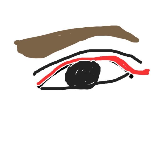 アイライナーは、ラブライナーを使いました。分かりやすいように赤で書いてます。いっぺんに書かなくていいのでゆっくり絵のように書いてください。化粧が終わってしまってるので絵になりますが。