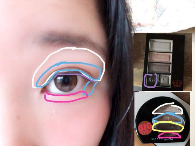 白をまぶた全体に。  水色は二重幅を はみ出すくらいに。 目尻側の涙袋にものせる  ピンクを涙袋に たっぷりめにのせましょう