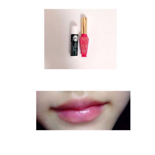 唇は、 メンソレータムを下地として塗ったあと、キャンメイクのリップティントシロップ03番を付けます。