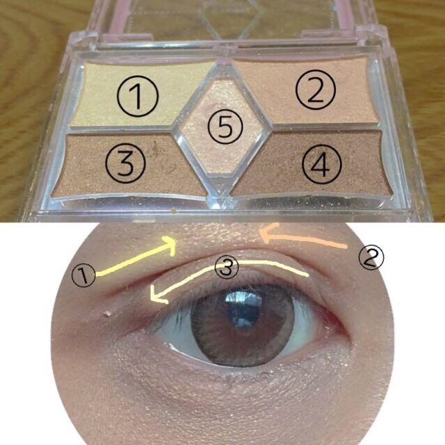 ✳︎eye make.   ①を手で瞼の上にのせます。その上から重ねて②ものせます。瞼には全体的に③をのせていきます❤︎基本手でのせた方が濃くなり過ぎないのでオススメです❤︎