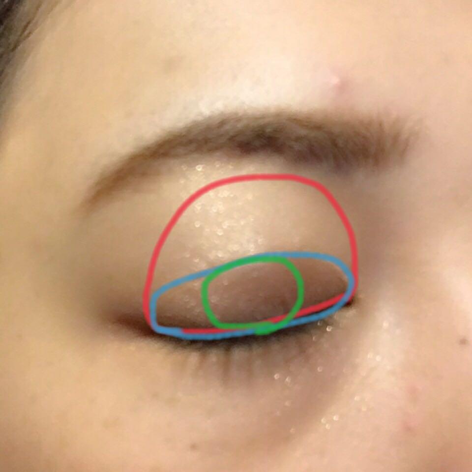 赤に1番 青に2番 緑に4番 を塗ります  緑のところに濃いブラウンを入れることによってシンプルに瞳を大きく見せれるかなと思います(´   `*)