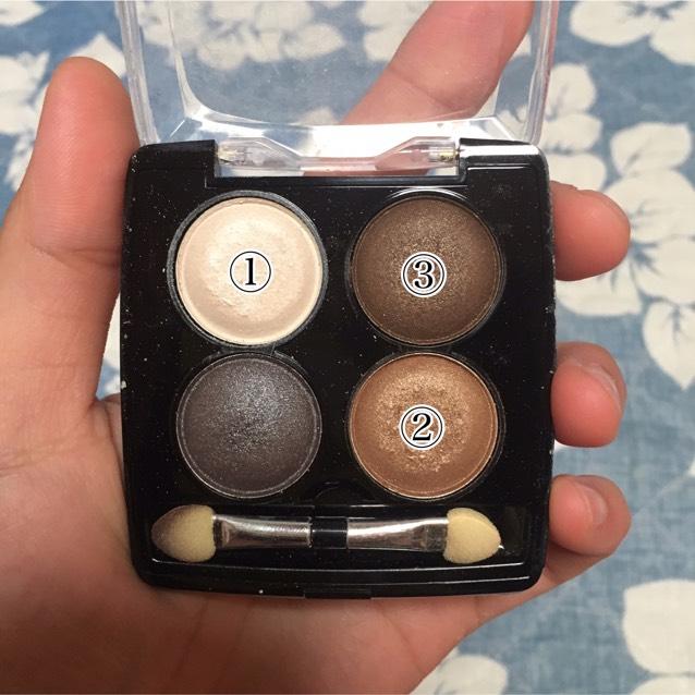 棕色眼影使用的是①〜③的顏色。
