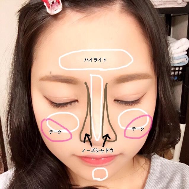 按照圖中的指示塗上好高光粉、腮紅、鼻影粉。高光粉使用腮紅的白色部分。鼻影粉用眉粉的淺色部分。紅色的唇膏塗在嘴唇的中心,用手指向外擴散。上面塗唇蜜。
