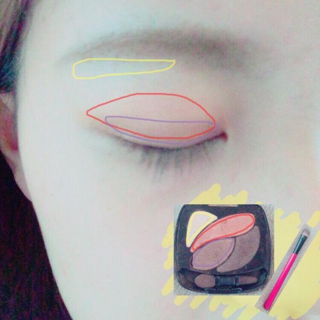 赤→紫→黄の順でのせていきます。 筆はダイソーの春姫を使っています。  赤…アイホール全体 紫…二重幅 黄…眉下