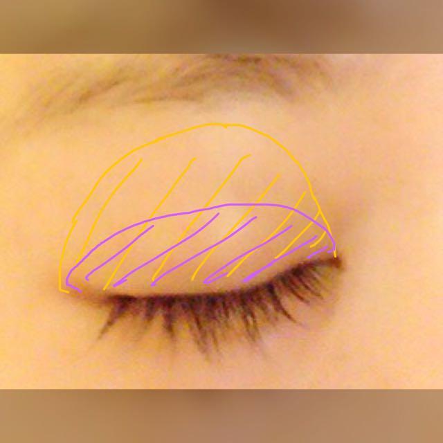 目を開けたときの 二重の線まで 5番を塗ります。 これは小指で塗ります。